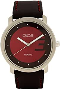 """Dice """"Ruff Buff 0501"""" Wrist Watch for Men. Fitted with sober, non shining, gun metal Body and Magenta/Deep Pink dial and anti allergic leather strap"""