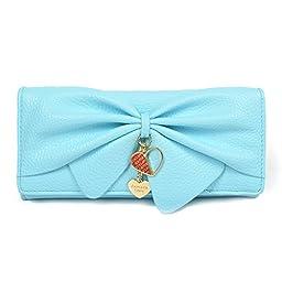 Damara Women Long Faux Leather Bifold Large Bow Design Wallet Handbag (Light blue)