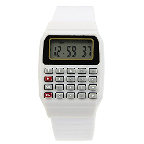 Heroneo® Cute Children Silicone Date Multi-Purpose Electronic Wrist Calculator Watch (White)