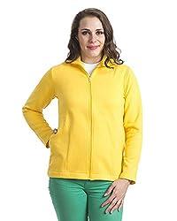 Finesse Women's Collar Zipper Jacket (FZJ08_XXL, Yellow, XXL)