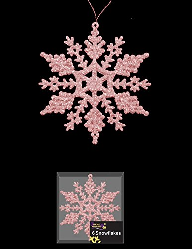 Pack Of 6 Baby Pink Glittery Hanging Snowflakes - For Frozen Themed Parties - 1