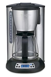 Waring CMS120 Professional 12 Cup Programmable Coffeemaker, Black and Stainless Steel