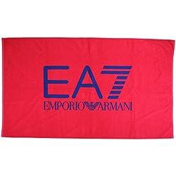 Emporio Armani EA7 telo mare asciugamano uomo originale logo rosso