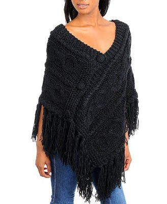 G2 Fashion Square Fringe Knitted Stylish Sweater Poncho(TOP-CGN, DGY