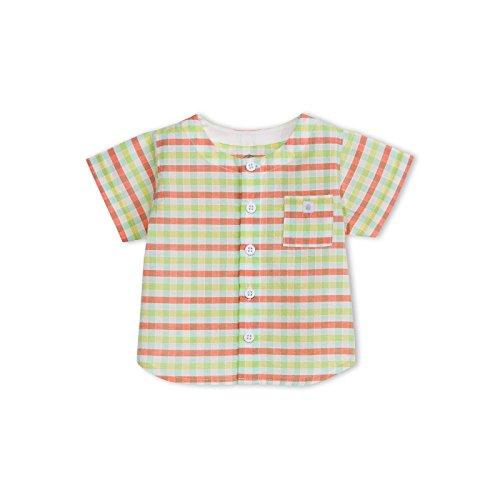 Petit Bateau camicia mezza manica quadri bambino 1 mese