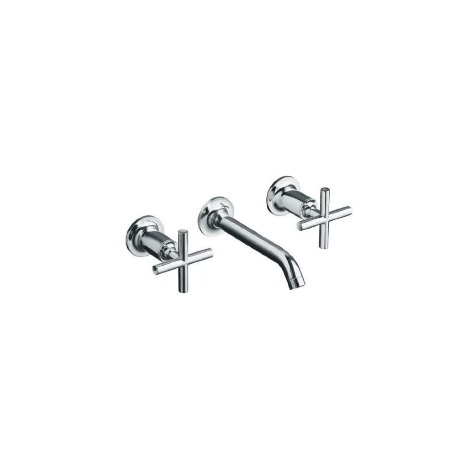 Kohler Purist French Gold Wall Mount Bathroom Sink Faucet, 6 1/4 Spout+Cylinder Cross Handles