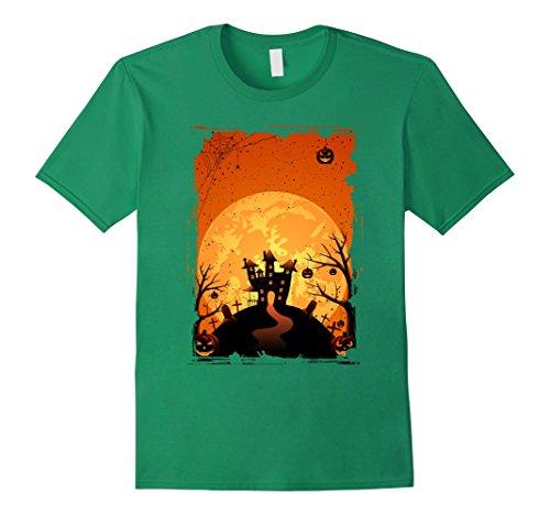 Men's Halloween T-shirt - Night with creepy castle and pumpkins Medium Kelly Green (Halloween Gravestone Sayings)