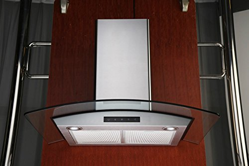30-inch Wall-mounted Stainless Steel Range Hood with Arched Tempered Glass & Touch Screen Control Panel