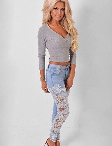 HU&HU Pantaloni Da donna Jeans Taglie forti / Moda città Cotone Media elasticità , white-3xl , white-3xl