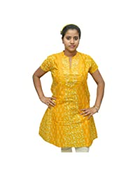 Odishabazaar Women's Yellow Floral Cotton Printed Kurti M