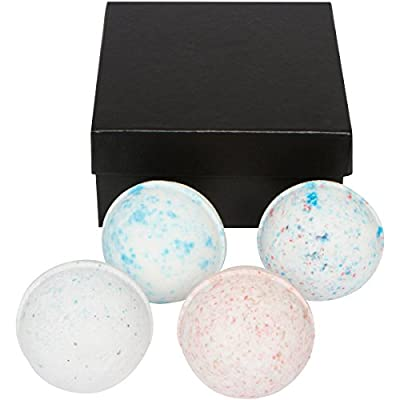 Mens Bath Bomb Gift Set. Huge 4 - 7 Oz. Bath Balls. Perfect Relaxation Present Idea for Husband, Father, Brother, Boyfriend, Coworker. Relax and Relieve Stress for Valentine's Day or Birthday By Daman Bath