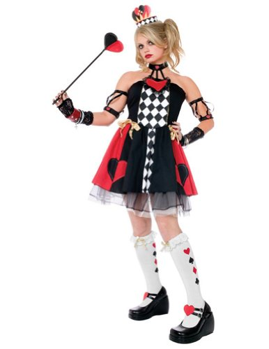 girls - Queen Of Hearts Wl Junior 0-9 Halloween Costume - Teen 0-9