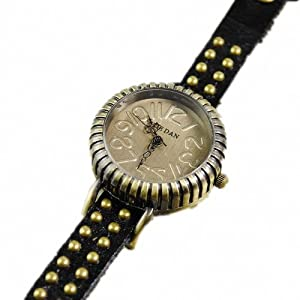 P&o Vintage Girls Students Trendy Bead Studded Genuine Leather Slim Band Bracelet Wrist Watch Black