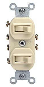 Leviton 5243 15 Amp, 120/277 Volt, Duplex Style Two 3-Way Combination Switch, Commercial Grade, Ivory