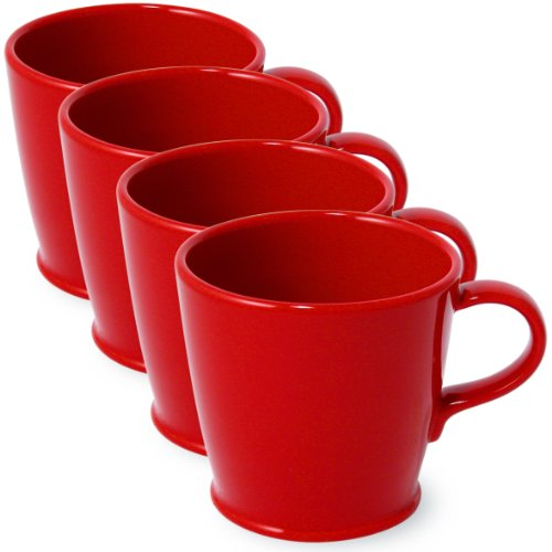 Ringlet Cafe Cup 10 Ounces (Set Of 4) - Red