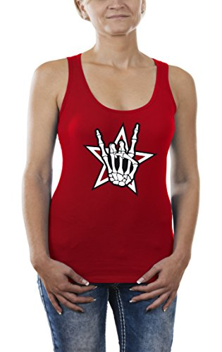 Touchlines Death Metal Headbanger, Tank Top Donna, Rot (Red 08), Large