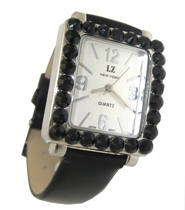 Swarovski Crystallized Genuine Leather Strap Lady&#039;s Fashion Watch/Jet Black at Amazon.com