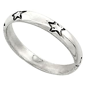 Sterling Silver Stars Stacking Ring size 9.5
