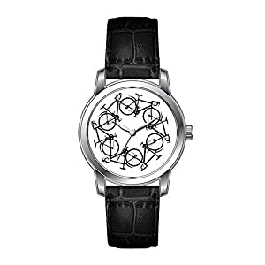 AMS Christmas Gift Watch Women's Vintage Design Leather Black Band Wrist Watch Cycling Design Watch