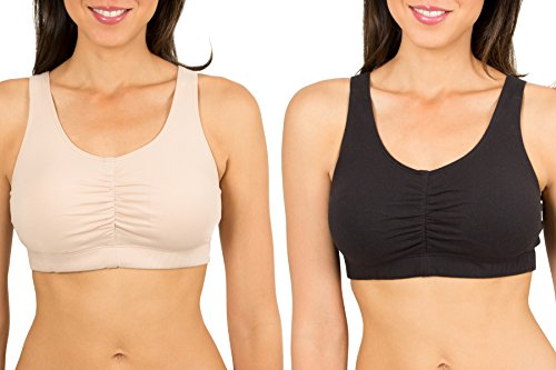 Fruit of the Loom Women's Sport Bra with Cookies , Sand/Black, 44(Pack of 2) (Fruit Loom Sports Bra compare prices)