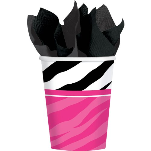 Pink and Zebra Print 9 oz. Paper Cups Party Hot and Cold Beverage Drinks Disposable Tableware and Drinkware (8 Pack), Multi Color, 9 oz..