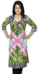 Devansh Women's Free Size Green shaded Long Cotton Stitched Kurtis