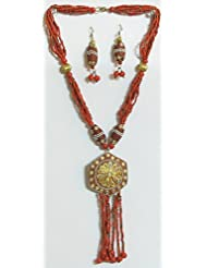 Red Bead Necklace With Jhalar Metal Pendant And Earrings - Beads And Metal