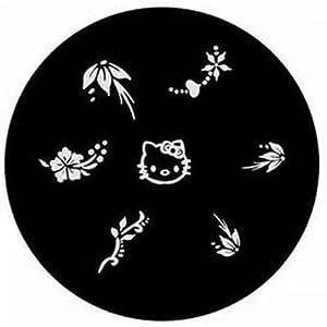 Nail Art Polish Stamp Manicure Image Plate *Hello Kitty* Plus Bonus Gold Butterfly Nail Art Decoration Confetti