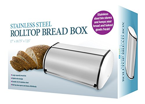 Stainless Steel Rolltop Bread Box White (Open Front Bread Box compare prices)