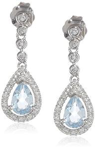 14k White Gold Aquamarine and Diamond Drop Earrings