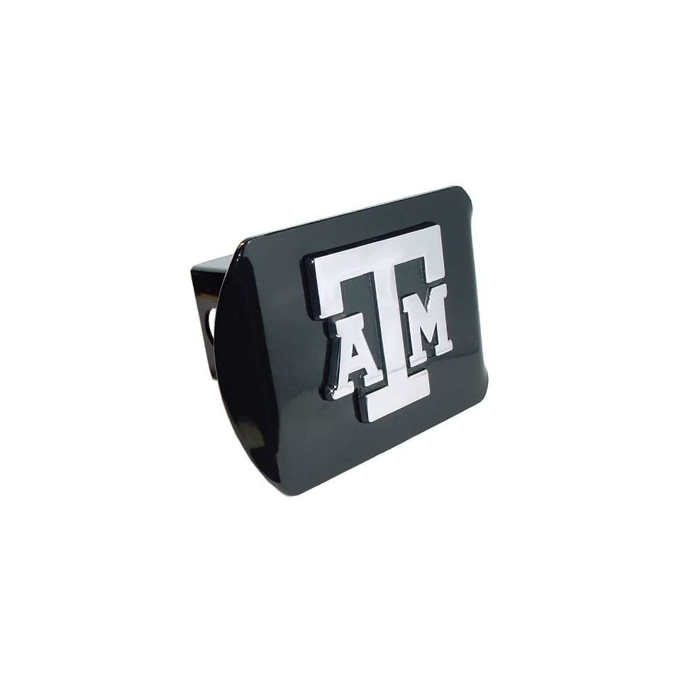 Texas A&M University Aggies Black with Chrome ATM Emblem NCAA College Sports Metal Trailer Hitch Cover Fits 2 Inch Auto Car Truck Receiver