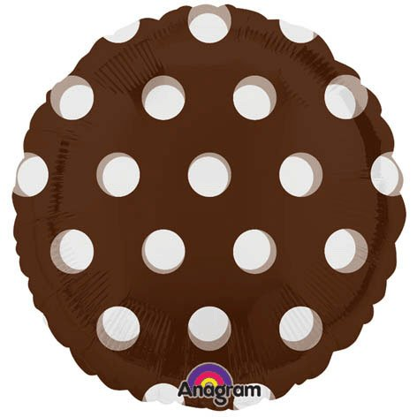 Brown with White Polka Dots Foil Balloon (White/Brown) Party Accessory