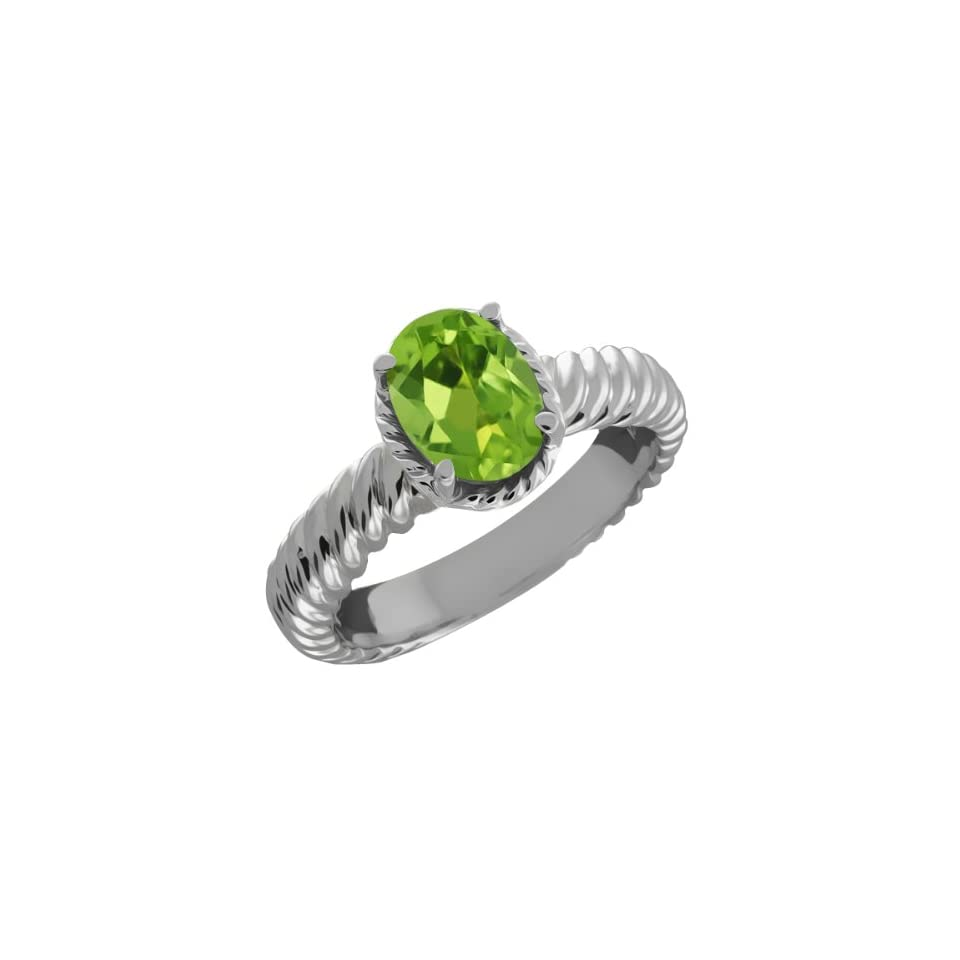 1.15 Ct Oval Green Peridot 14k White Gold Ring