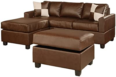 Bobkona Jr. Soft-Touch Reversible Bonded Leather Match 3-Piece Sectional Sofa Set, Walnut
