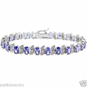 Paris Jewelry 12 Carat Oval Tanzanite and Genuine Diamonds S shape