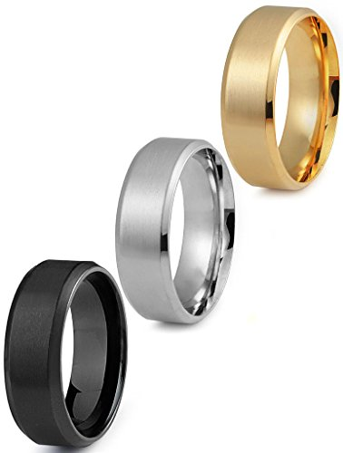 Jstyle Stainless Steel Rings for Men Wedding Ring Cool Simple Band 8 MM 3 Pcs A Set Size 7