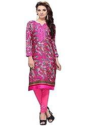 JCM Krishriyaa Women's Pink Cotton Cambric Printed Kurti with L size