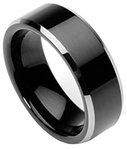 .com: Men39;s Tungsten Ring/Wedding Band, Flat Top, Two Toned Black