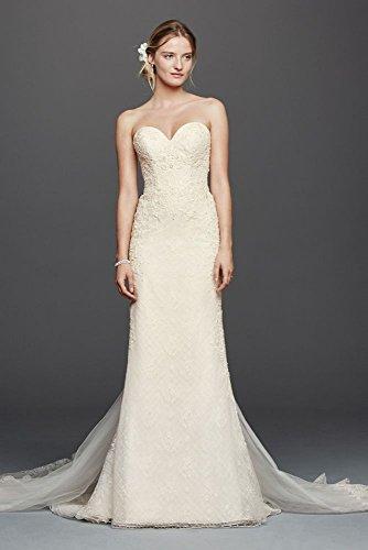 Oleg Cassini Venice Lace Sheath Wedding Dress Style CWG741, Ivory, 10