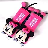 sunstar-Disney Minnie Mouse Design Multi Use Auto Car seat belt cover Plush Seat Shoulder Pad Cushion 2 pcs One Pair HOT PINK