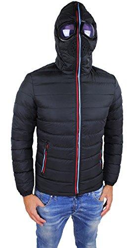 Giubbotto Piumino uomo nero Giubbino casual Slim Fit invernale con cappuccio e lenti taglia S M L XL XXL (L, nero)