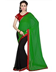Designersareez Women Green & Black Faux Georgette Saree With Unstitched Blouse (1685)