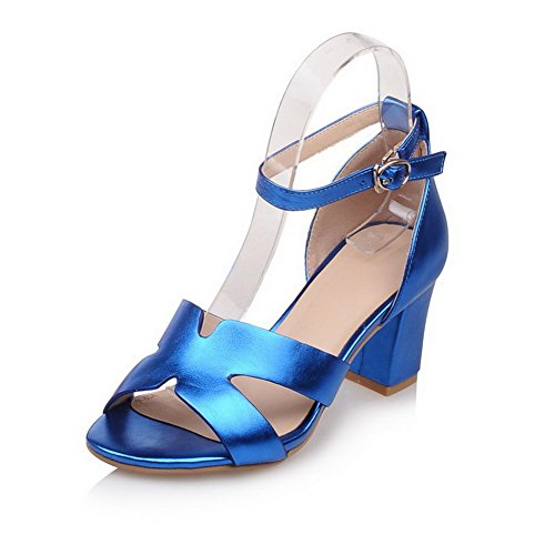 AmoonyFashion Women's Solid PU Kitten-Heels Open-Toe Buckle Sandals