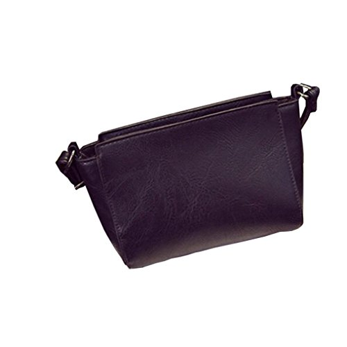 Koly_cuoio donne spalla Bauletto retro borsa Messenger Bag (Nero)