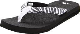 Sanuk Women\'s Yoga Wildlife Flip Flop Sandal,Zebra,8 M US