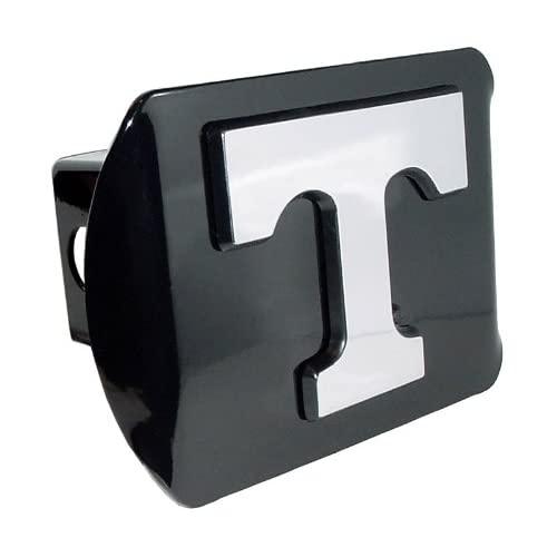 University of Tennessee Volunteers Black with Chrome Power T Emblem NCAA College Sports Metal Trailer Hitch Cover Fits 2 Inch Auto Car Truck Receiver
