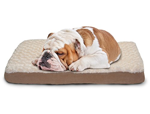 Furhaven Pet Ultra Plush Deluxe Egg-Crate Orthopedic Mat Dog Bed with Water-Resistant Base, Medium, Cream