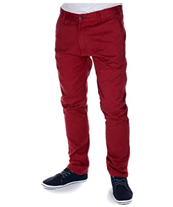 Men's Coral Red Twisted Soul Slim Fit Chinos 36L