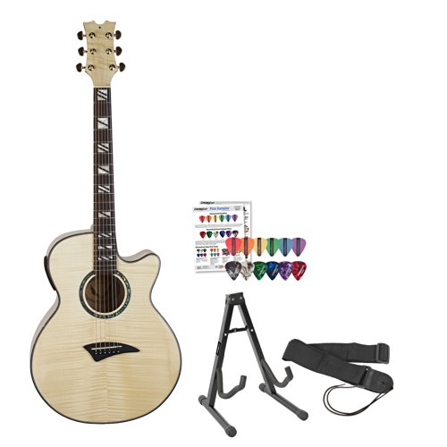Dean Guitars Performer Flame Maple With Aphex Acoustic/Electric Guitar Kit - Includes Guitar Stand, Strap & Planet Waves/Godpsmusic Shredder Pick Sampler
