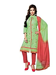 RK Fashion Womens Cotton Un-Stitched Salwar Suit Dupatta Material ( YOGESH-YCM-MUSKAN-1016-Green-Free Size)
